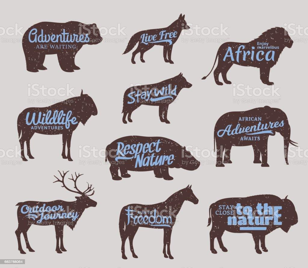 Vector wild animals silhouettes. Wild life adventures icons