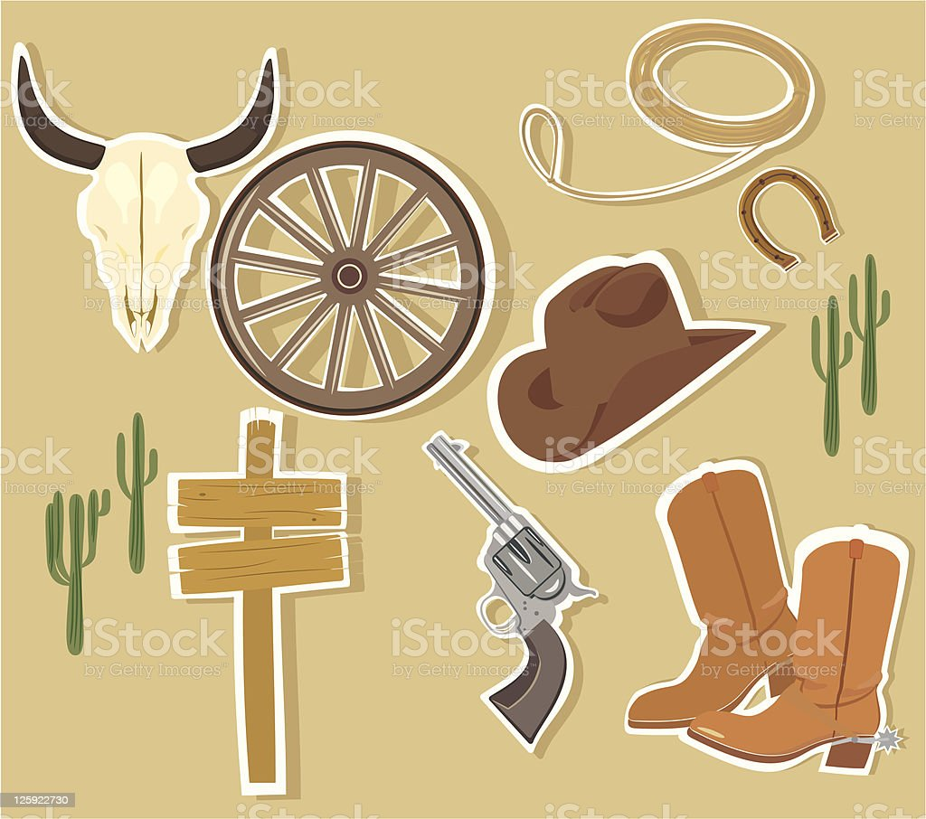 Vector Wild West Western Elements vector art illustration