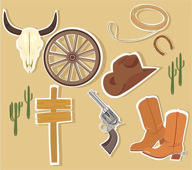wilder westen westlichen elemente, vektor - cowboystiefel stock-grafiken, -clipart, -cartoons und -symbole