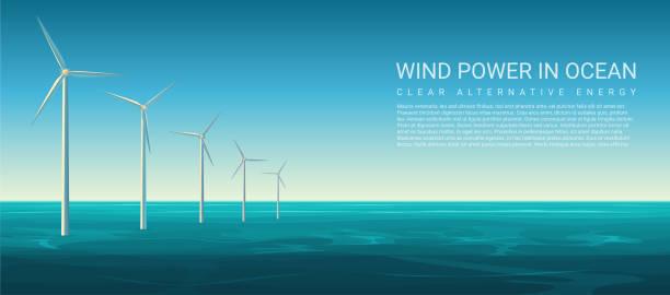 stockillustraties, clipart, cartoons en iconen met vector wind energie macht concept poster kop met windturbines in de oceaan. - windmolen