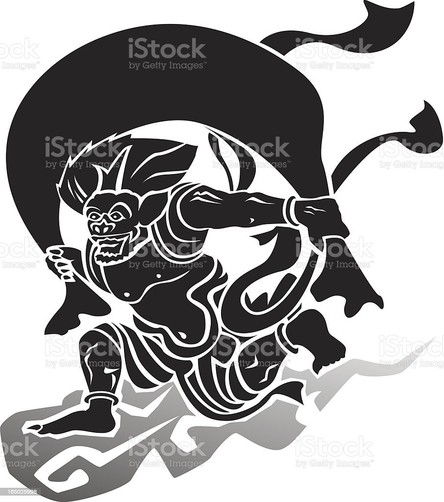 vector - Wind God (woodblock style) royalty-free vector wind god stock vector art & more images of asia