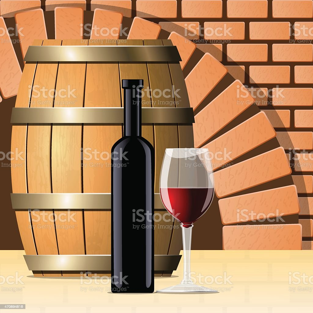 Vector wine cellar with wine bottle and glass vector art illustration