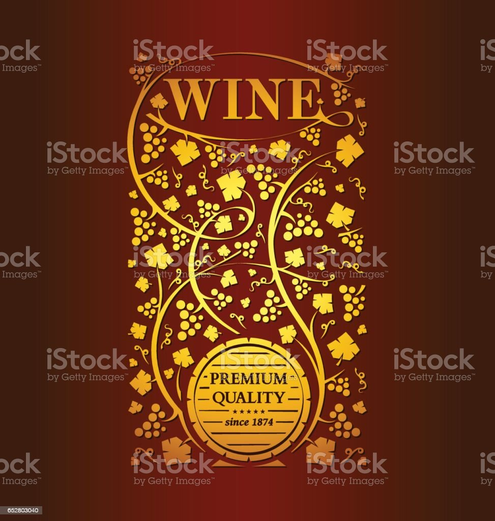 Vector wine emblem vector art illustration