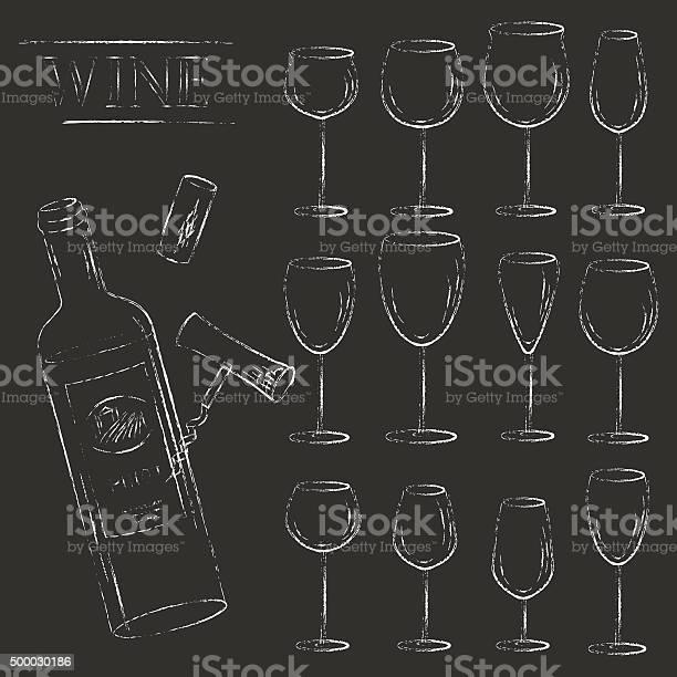Vector wine glasses and wine bottle chalk illustration vector id500030186?b=1&k=6&m=500030186&s=612x612&h=rdswhfevgjsj7oyoy9wo5 cfaegyz9zosmnd dwftrm=