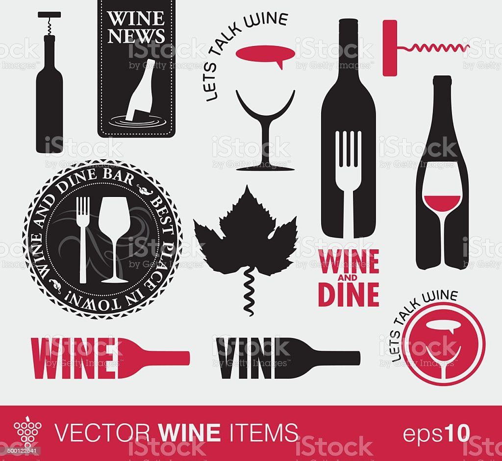 Vector wine items and logo's vector art illustration