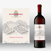 Vector wine label, Front Label template with bottle