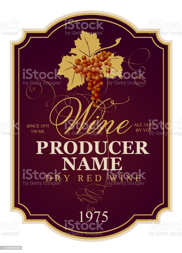 Vector label for dry red wine with bunch of grapes and calligraphic...