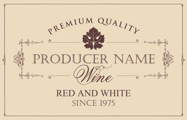 bildbanksillustrationer, clip art samt tecknat material och ikoner med vector vin etikett med vinstockar blad - vinodling