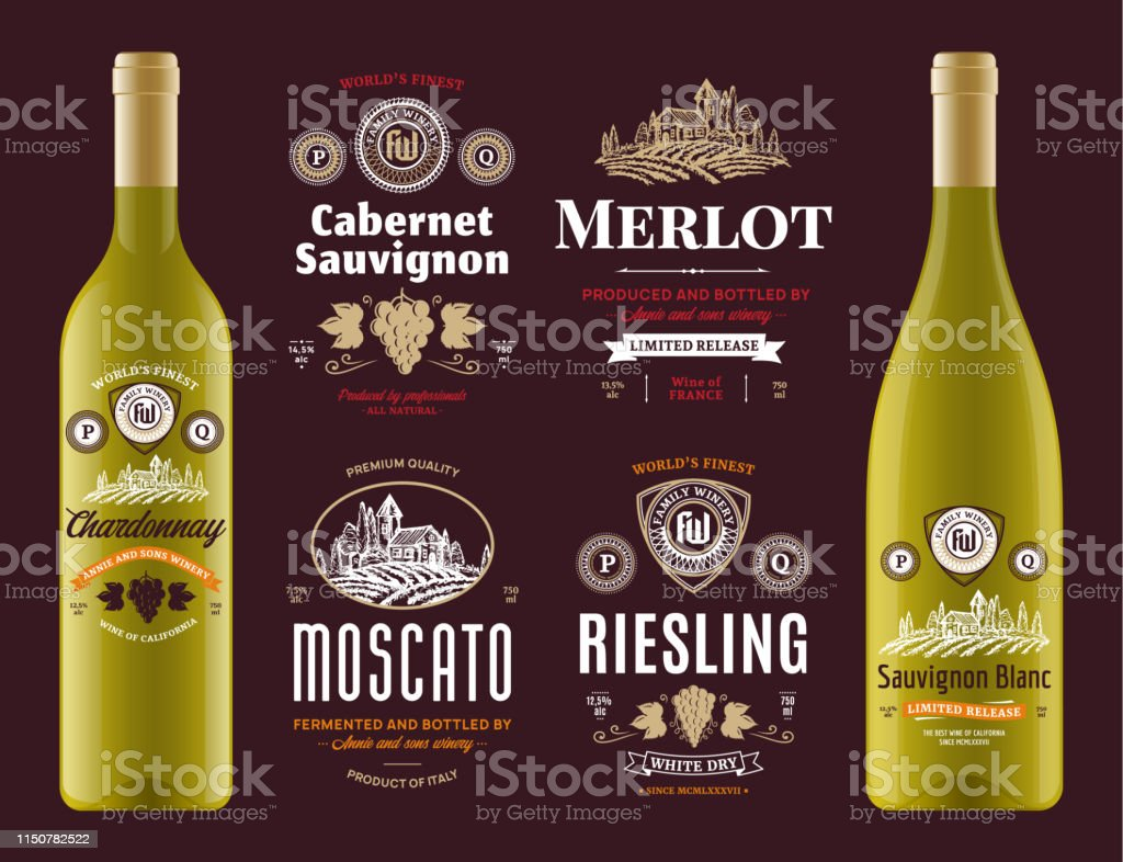Vector vintage red and white wine labels and wine bottle mockups....
