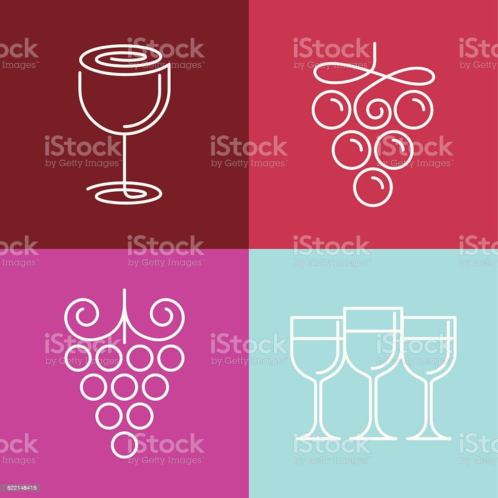Vector wine line icons and logos vector art illustration