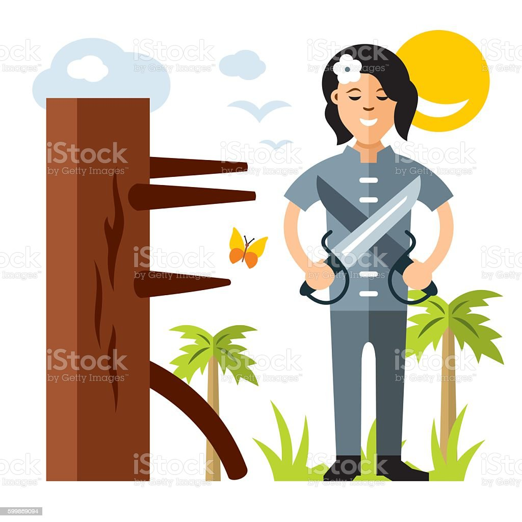 Vector Wing Chun kung fu Girl with two swords, wooden vector art illustration