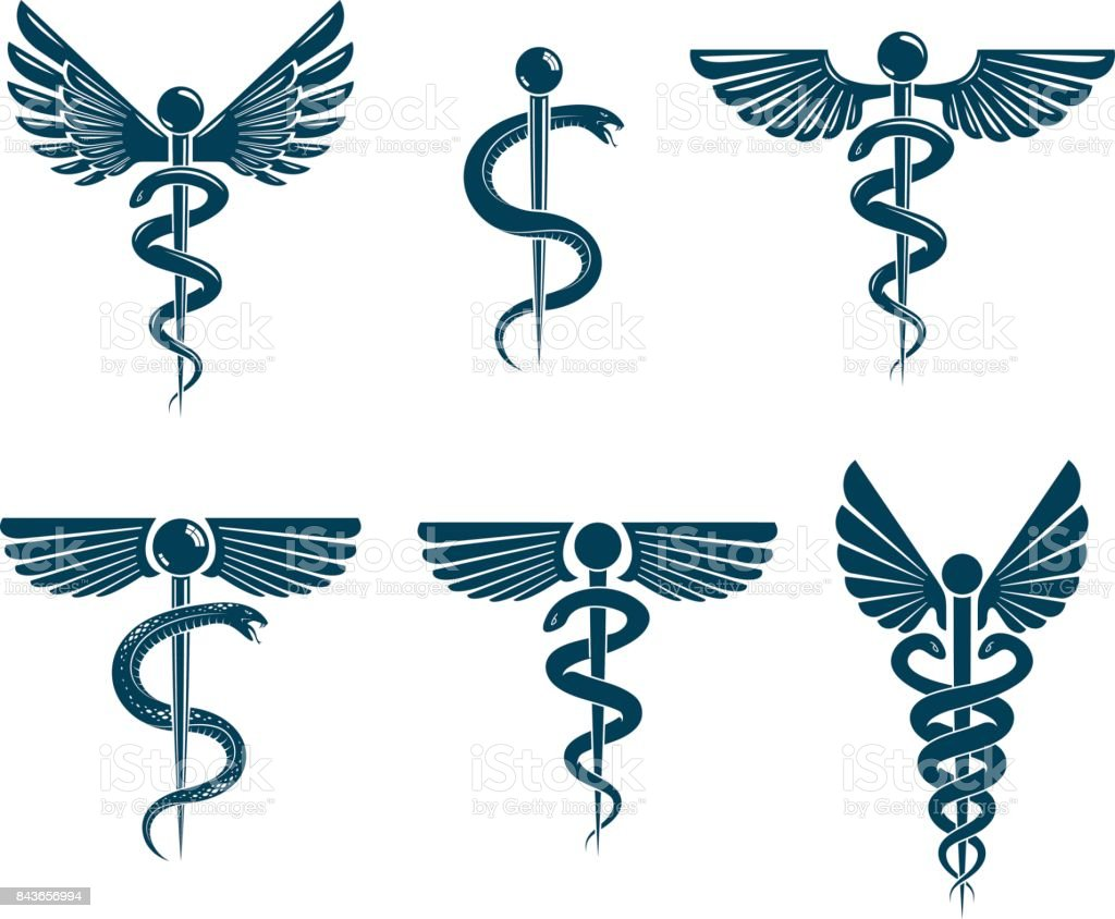 Vector winged Caduceus illustrations collection. Pharmacology and healthcare idea emblems. vector art illustration