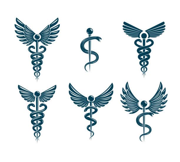 illustrazioni stock, clip art, cartoni animati e icone di tendenza di vector winged caduceus illustrations collection. pharmacology and healthcare idea emblems. - ancient medical symbol