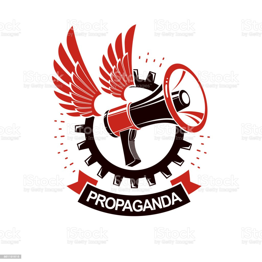 Vector winged icon composed with megaphone equipment surrounded by engineering cog wheel. Proletarian revolution abstract sign, political propaganda. vector art illustration