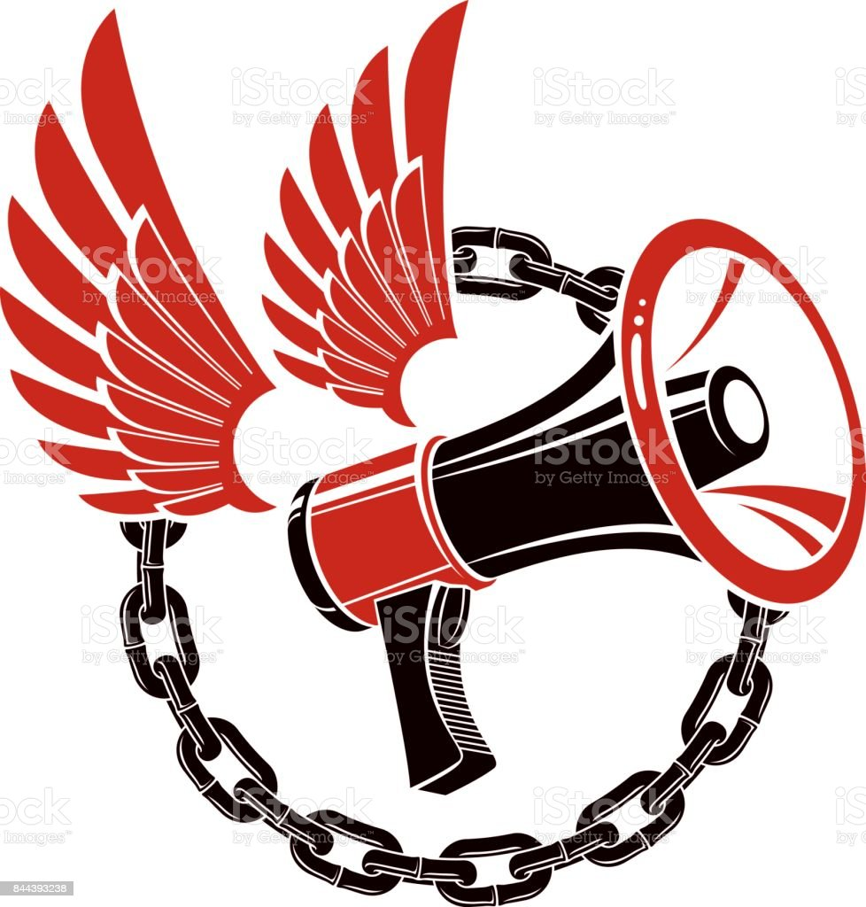 Vector winged illustration composed with loudspeaker equipment surrounded by iron chain. Propaganda as the means of influence on public opinion vector art illustration