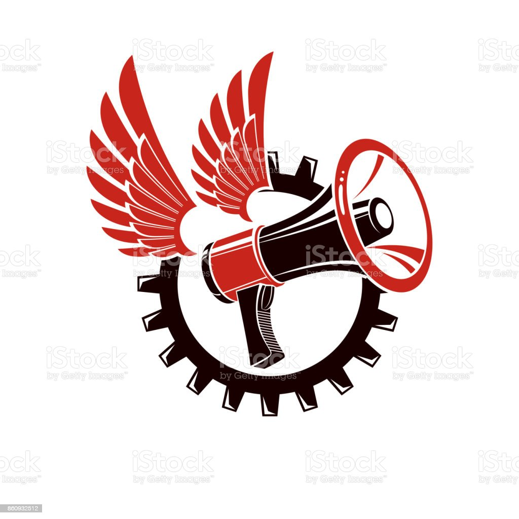 Vector winged illustration composed with megaphone equipment surrounded by engineering cog wheel. Proletarian revolution abstract sign, political propaganda. vector art illustration