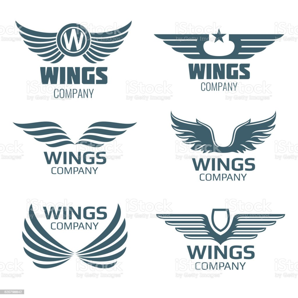 vector wings logo set stock vector art more images of abstract