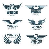 Vector wings logo set