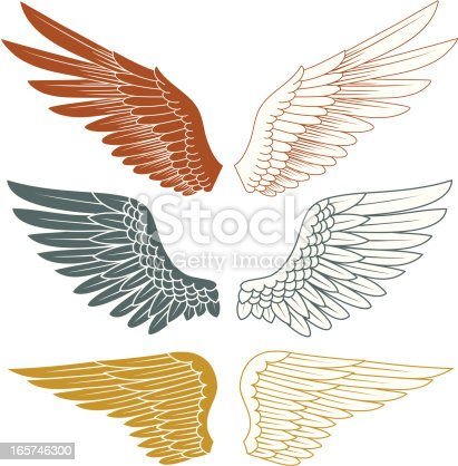 Hand-drawn vector wings.  Colors can be easily changed.