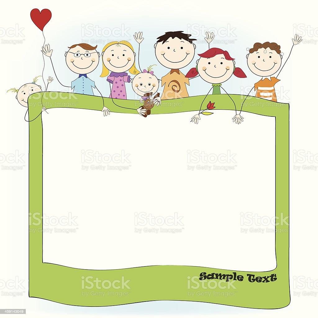 Vecteur fond d'hiver avec drôle mignon heureux agitant les enfants - Illustration vectorielle