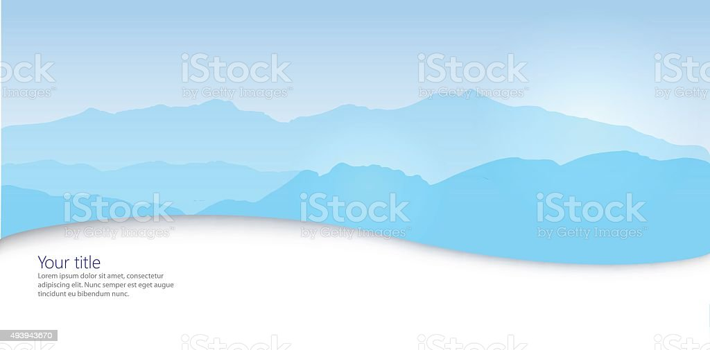 Vector Winter banner with Canigou silhouette vector art illustration