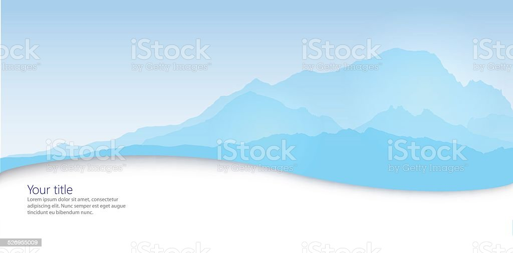 Vector Winter banner with Mont Blanc silhouette vector art illustration