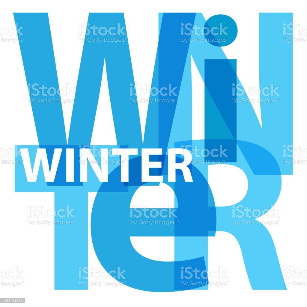 Vector winter. Broken text vector art illustration