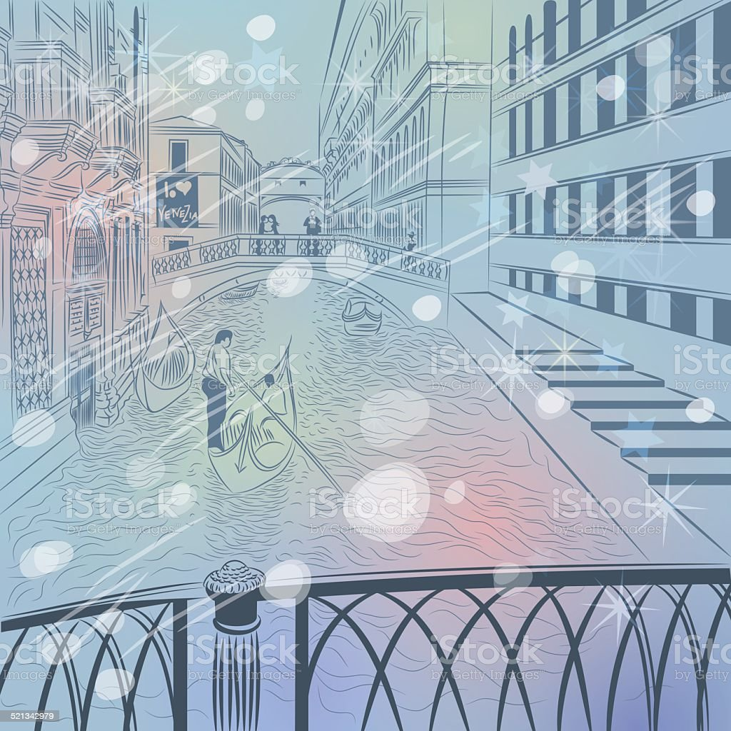 vector winter Christmas cityscape with Bridge of Sighs in Venice vector art illustration