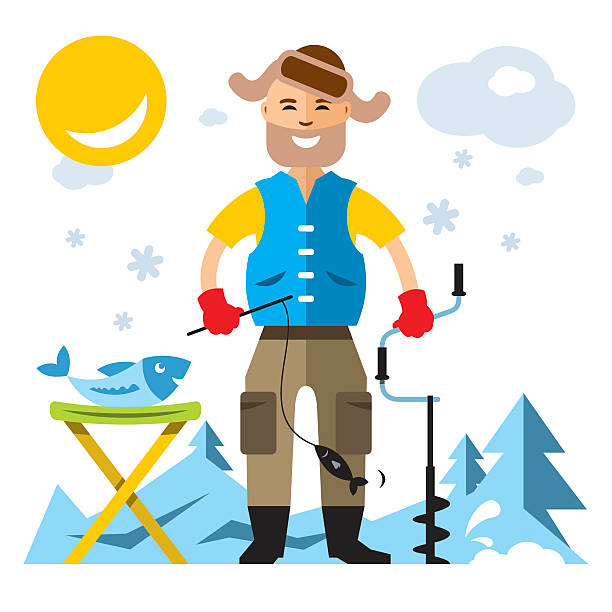 ilustrações de stock, clip art, desenhos animados e ícones de vector winter fishing. flat style colorful cartoon illustration. - fishman