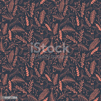 Winter foliage seamless pattern. Elegant retro doodle style holiday season print background design. Vector