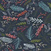 Winter foliage seamless pattern. Elegant retro doodle style holiday season print background design. Vector