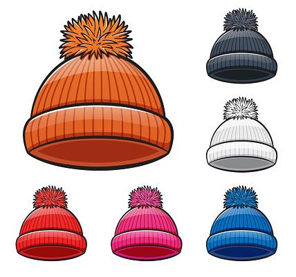 Vector winter hat cartoon illustration