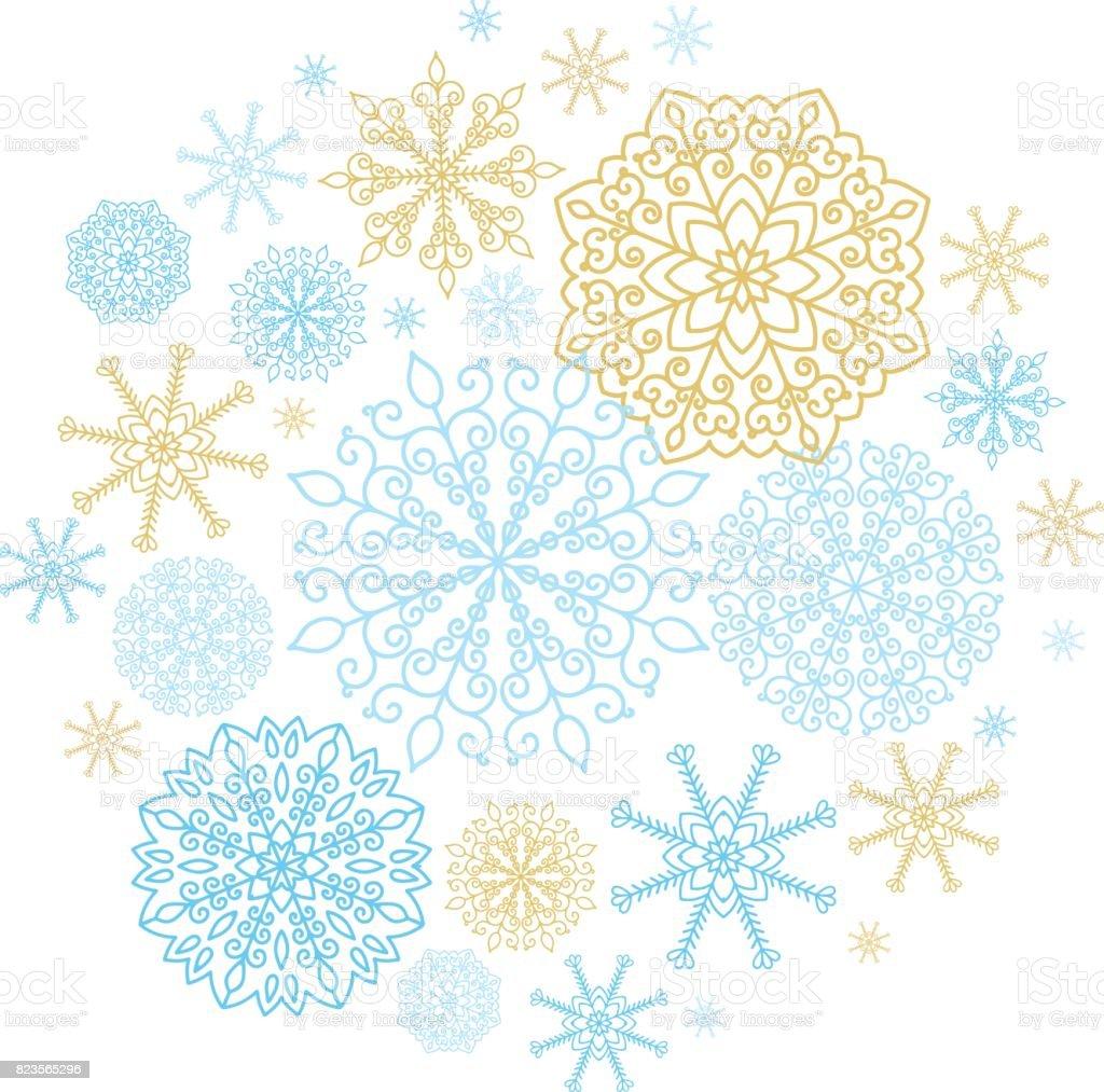 ベクター黄金と青い雪の結晶冬の休日の背景 のイラスト素材 823565296