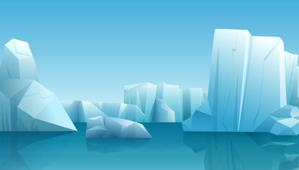 Vector Winter illustration of nature winter arctic landscape with ice iceberg, blue pure water and snow hills. Vector Winter illustration of nature winter arctic landscape with ice iceberg, blue pure water and snow hills arctic stock illustrations