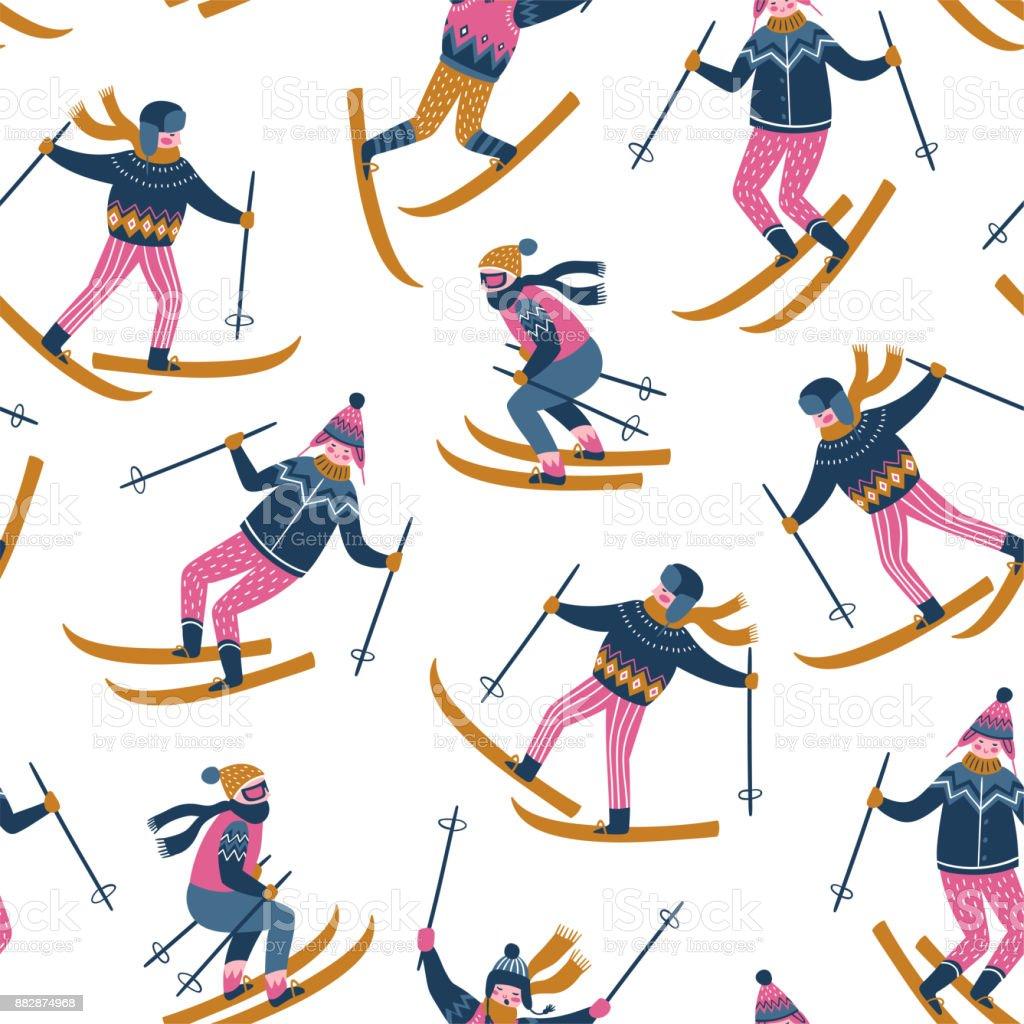 Vector winter  illustration of skiers. Sports children in the ski resort. Trendy scandinavian design. Seamless pattern on the white background. vector art illustration