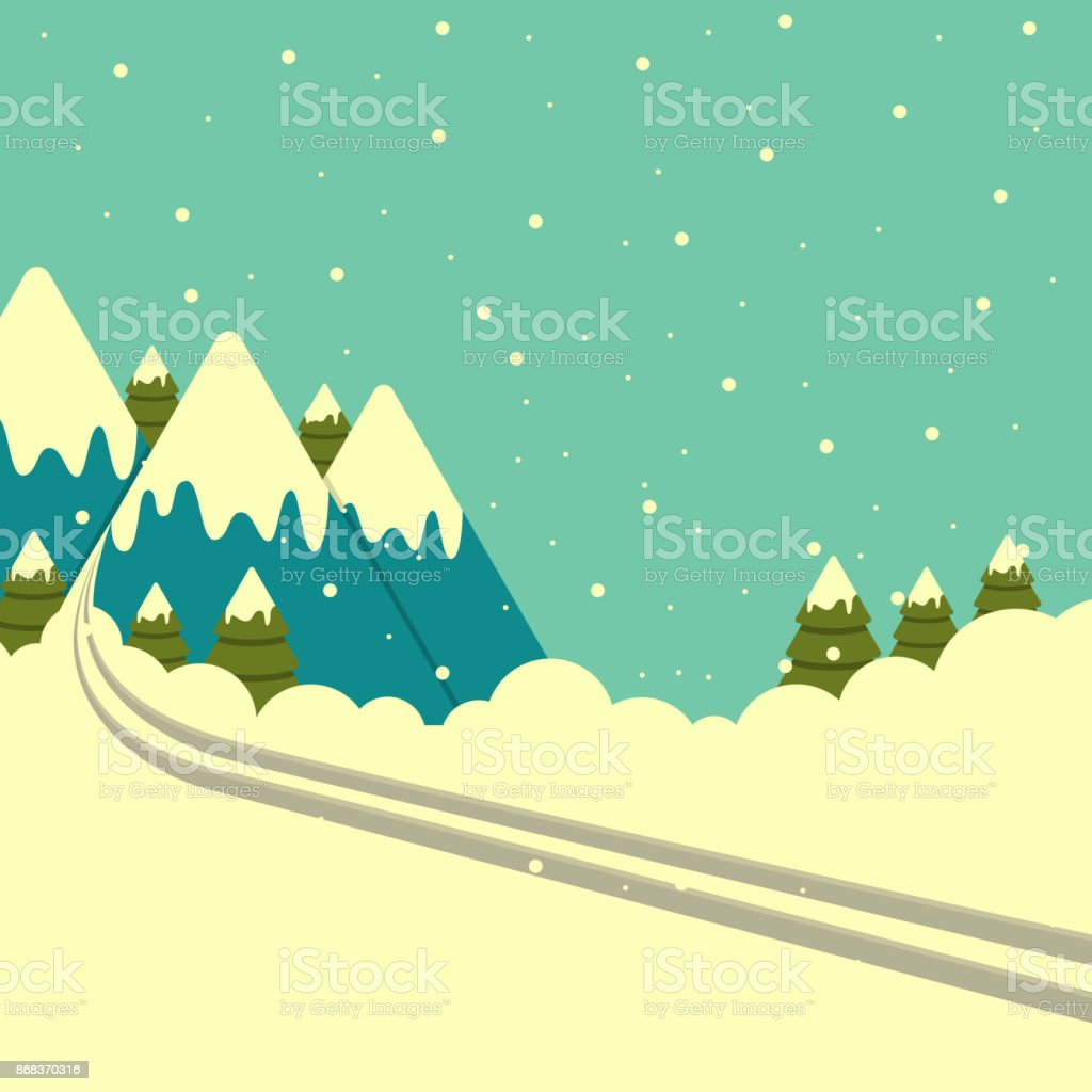 Vector winter mountains background with ski track. vector art illustration