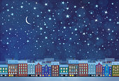 Vector winter night city background.