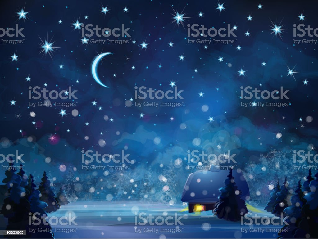 Vector winter night  landscape with house in forest. vector art illustration