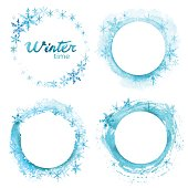 Vector winter offer on white background. Hand drawn watercolor set.
