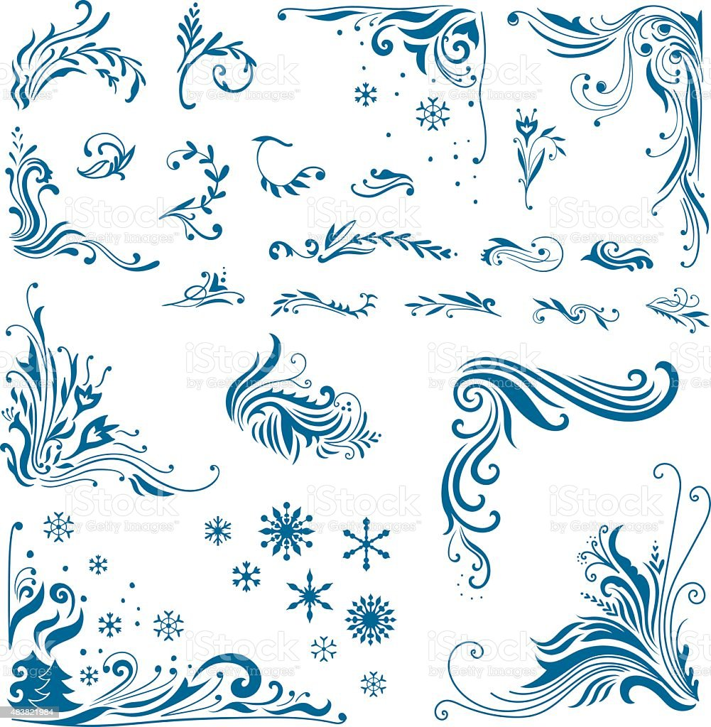 Vector Winter Ornaments Bundle vector art illustration