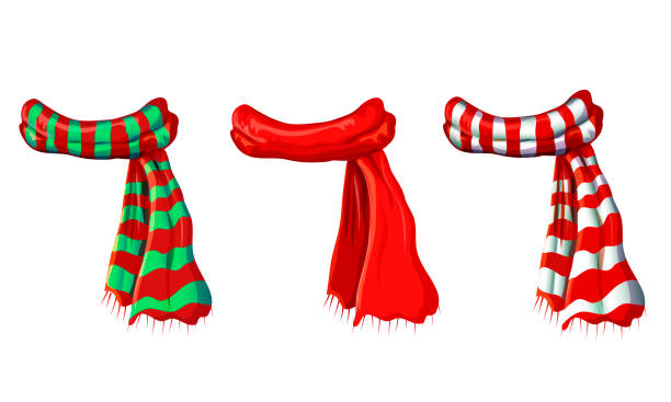 ilustrações de stock, clip art, desenhos animados e ícones de vector winter red scarf collection isolated on white background. illustration of red, green white striped scarves. christmas or holiday wool muffler icon set - winter warming clothes in cartoon style - cachecol