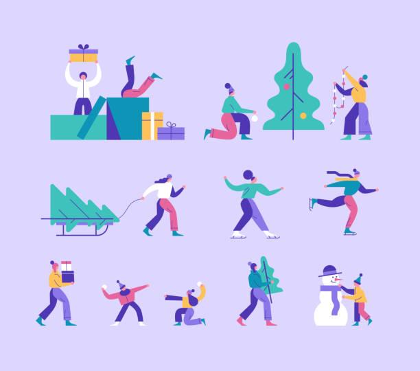 bildbanksillustrationer, clip art samt tecknat material och ikoner med vector vintersäsongen inklusive olika jul semester utomhusaktiviteter. människor dekorera xmas tree, en man som bär presentaskar, barn som leker snöbollar, ett par skridskor, en unge att göra snögubbe. - christmas gift family
