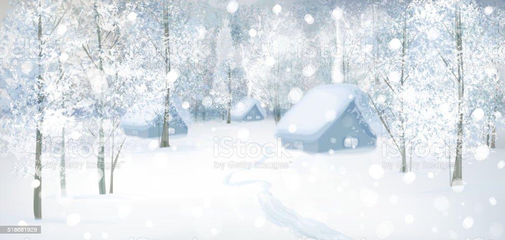 Vector winter snow landscape. vector art illustration