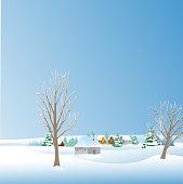 Vector winter snow landscape