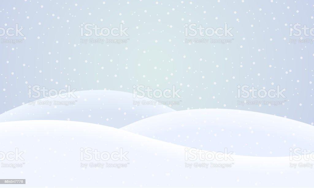 Vektor verschneite Winterlandschaft mit fallendem Schnee unter blauem Himmel – Vektorgrafik