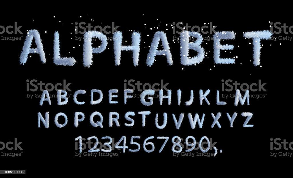 Vektor Winter weichen flauschigen Alphabet Cartoon-Stil – Vektorgrafik