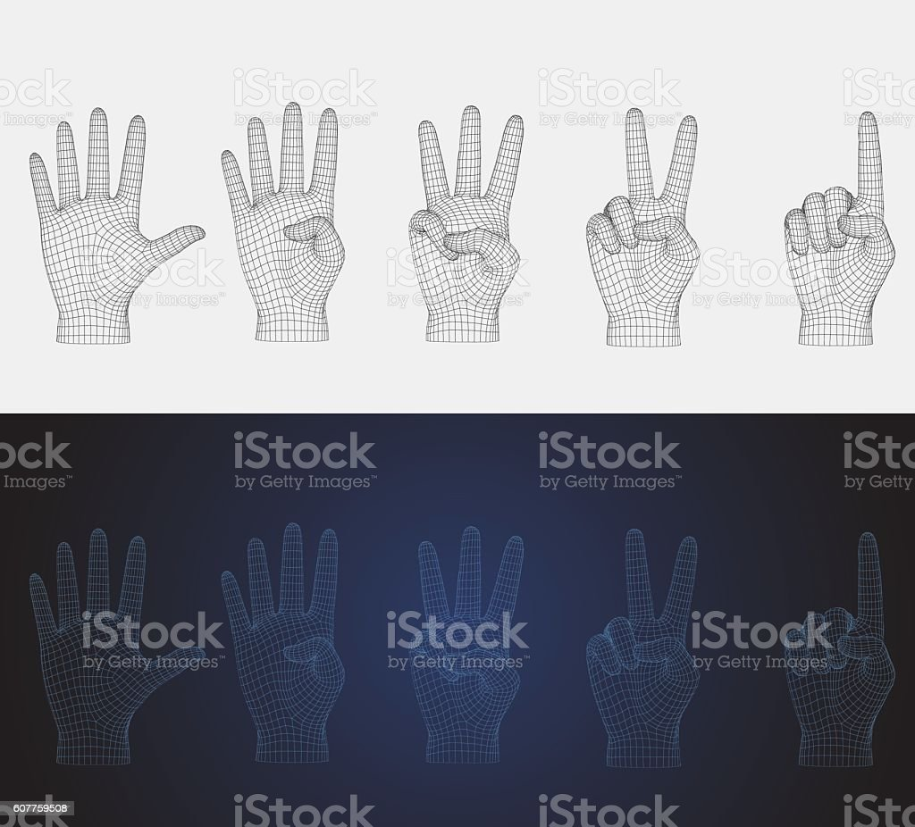 3D vector wireframe counting hand pose set in various style vector art illustration