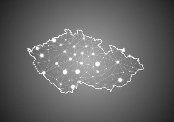 vector wireframe mesh polygonal of czech republic map. abstract global connection structure. map connected with lines and dots. geometric world concept.  digital data visualization, infographics. - republika czeska stock illustrations