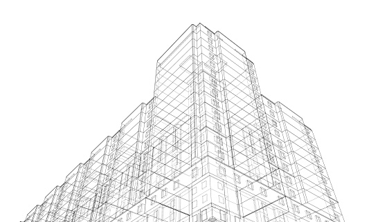 Vector wire-frame model of a building