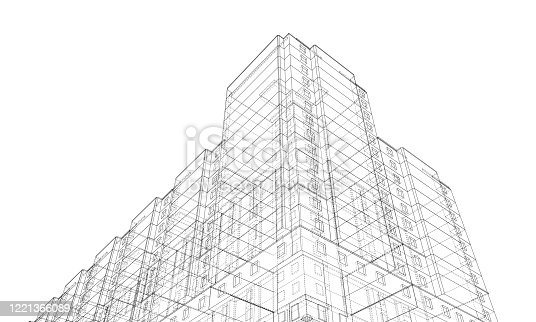 Vector wire-frame model of a residential building. Construction concept. Drawing or blueprint style. Vector made from 3d model